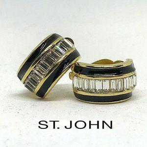 Vintage ST JOHN Clip Back Crystal Earrings